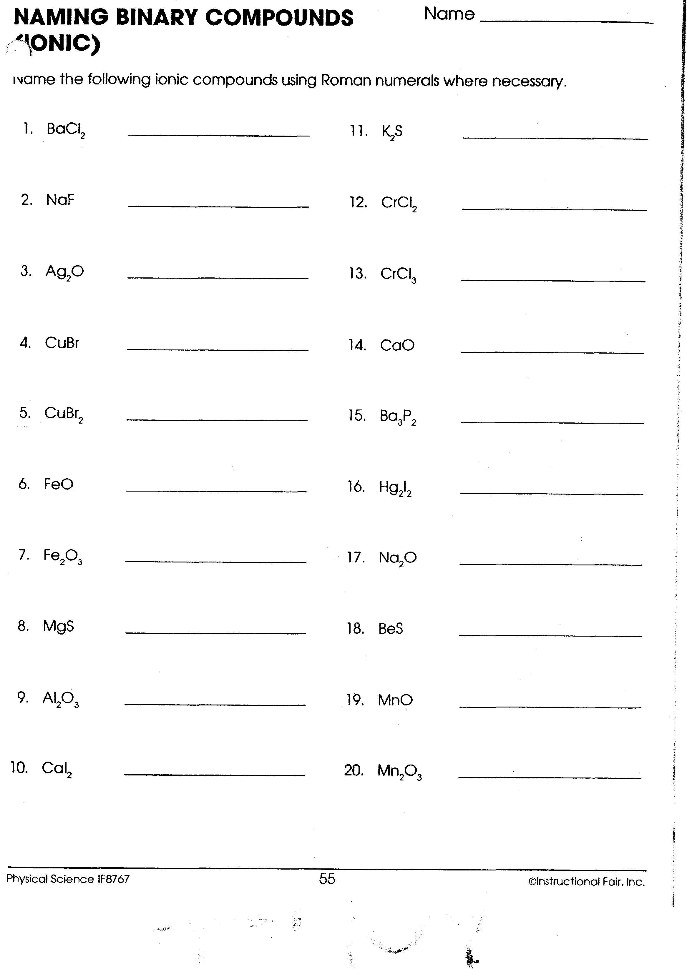 Naming Binary Ionic pounds Worksheet on naming binary ionic compounds ...