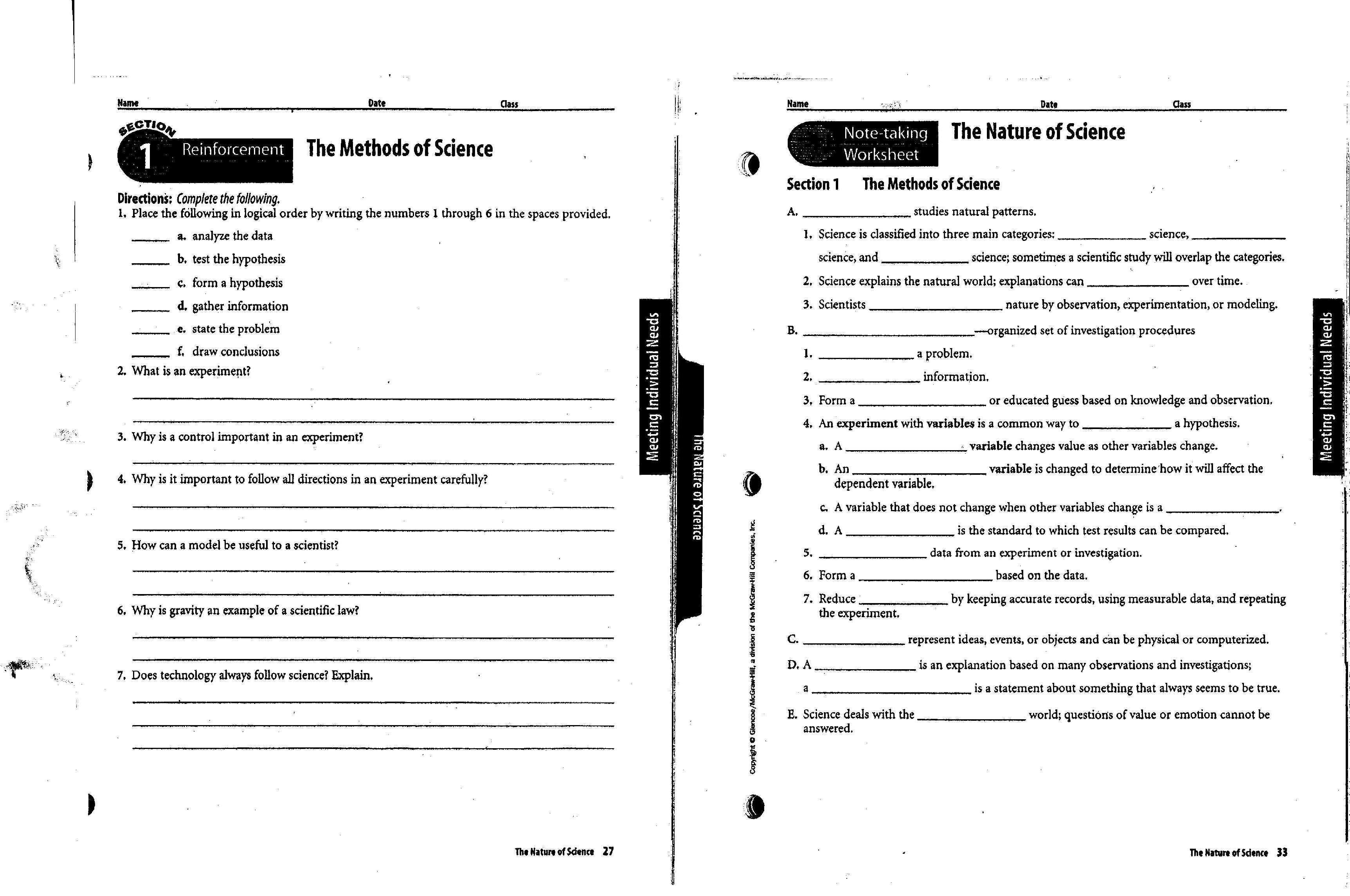 Nature Of Science Worksheets Sharebrowse – Science Worksheet Answers