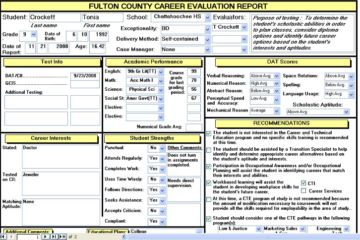 Cti Career Evaluation Report Forms  Tonia Crockett